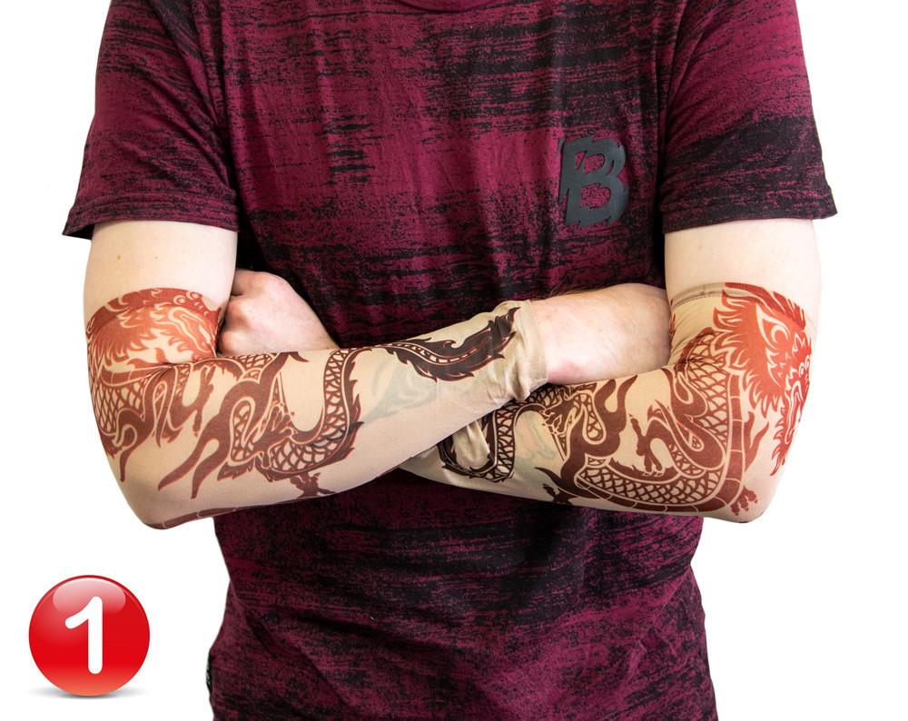 Тату нарукавник Дракон №1 34х9 см, эластичный тату рукав детский | еластичний тату нарукавник (ST)