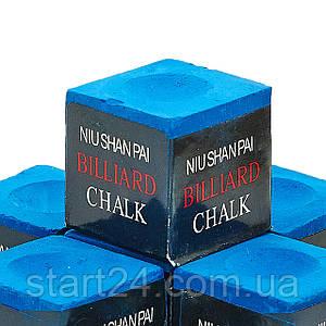 Мел для бильярда (уп. 144шт) NIUSHANPAI KS-NS144 (синий, цена за 1шт)