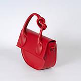 Червона жіноча маленька сумка 15-21/1  з однією ручкою і довгим ремінцем на плече, фото 3