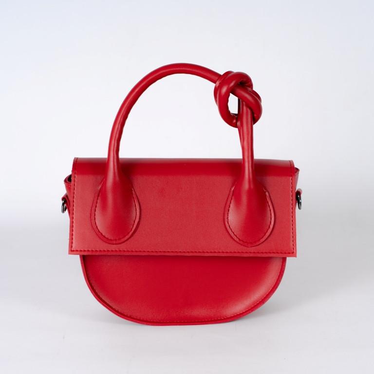 Червона жіноча маленька сумка 15-21/1  з однією ручкою і довгим ремінцем на плече