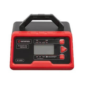 Устройство зарядное для аккумуляторов 12 В-2/6/10 А, 24 В-2/6 А, 2.2-200 Ач, INTERTOOL AT-3025