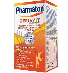 Sanofi, Pharmaton Geriavit мультивитамины с  супер экстрактом женьшеня G115, 30 табл