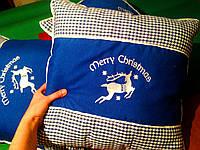 Новогодние наволочки на интерьерные подушки бутылочный, наволочки интерьерные подушки