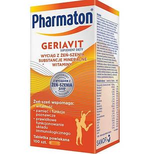 Sanofi, Pharmaton Geriavit мультивитамины с  супер экстрактом женьшеня G115, 100 табл