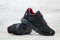 Мужские черные кроссовки в стиле Меррел (сетка), Весна Лето коллекция (Код: MZ чер/сет)