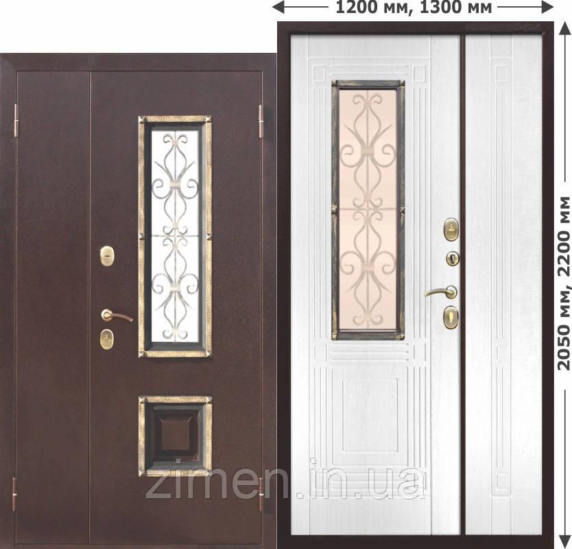 Вхідні металеві нестандартна двері зі склопакетом Венеція 1200 Білий ясен