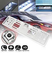 Камера заднього виду у рамці автомобільного номери з 16 LED підсвічуванням Сіра