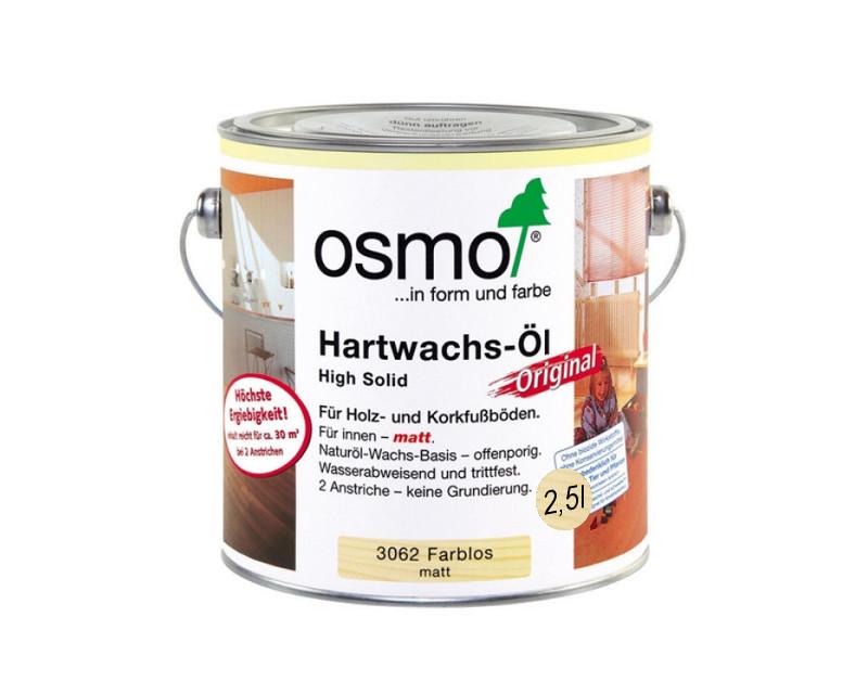 Масло з твердим воском OSMO HARDWACHS-OL ORIGINAL для підлоги та виробів з деревини 3062-матове 2,5 л