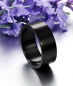 Черные кольца женские 8 мм. Размеры: 17-22. Женское кольцо на большой палец из медицинской стали