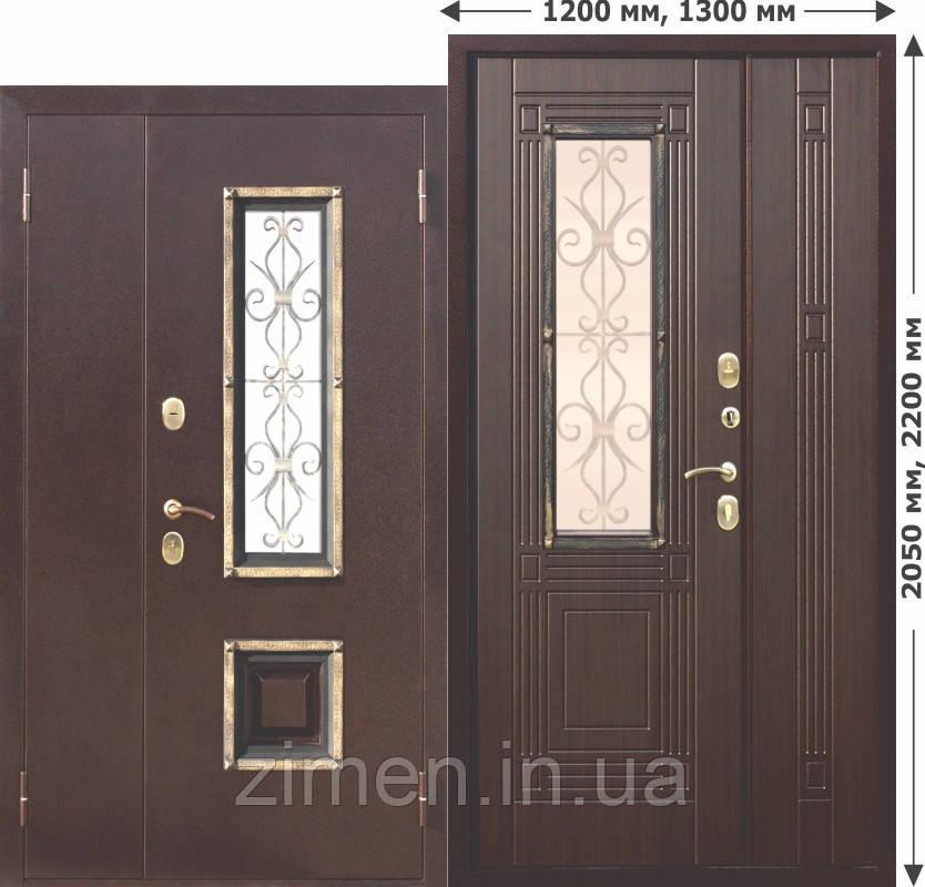 Входная металлическая нестандартная дверь со стеклопакетом Венеция 1200 Венге