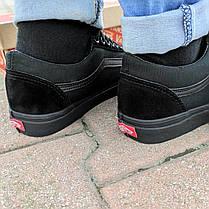 Vans Old Skool black кеды низкие мужские полностью черные ванс вэнс летние кеды  не оригинал  деми демисезон, фото 3