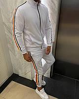 Спортивный костюм мужской белый с разноцветными полосами кофта+штаны Турция