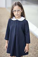 Стильное школьное платье для девочки с белым воротником синий