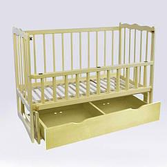 """Кроватка детская маятник+шухляда - откидной бортик """"Сон"""" ольха - цвет сло кость"""
