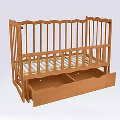 """Кроватка деревян. маятник+шухляда - откидной, """"Волна"""" ольха - цвет светло-коричневый"""