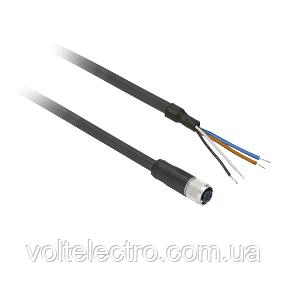Прямий конектор кабельно-гніздовий М12 4 отвори (довж.5м)