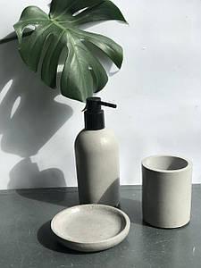 Набор для ванной комнаты (дозатор, мыльница и стакан для щеток) / Набор для ванной из бетона/Мыльница из бетон