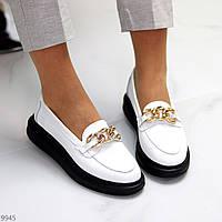 Актуальные белые женские туфли криперы натуральная кожа флотар с декором 38-24,5 см