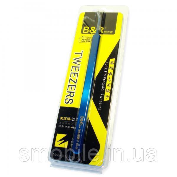 B&R (tools) Пінцет B&R BT-14 - синього кольору (зігнутий)