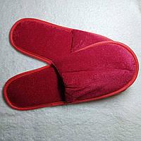 Красные велюровые тапочки (закрытый носок)