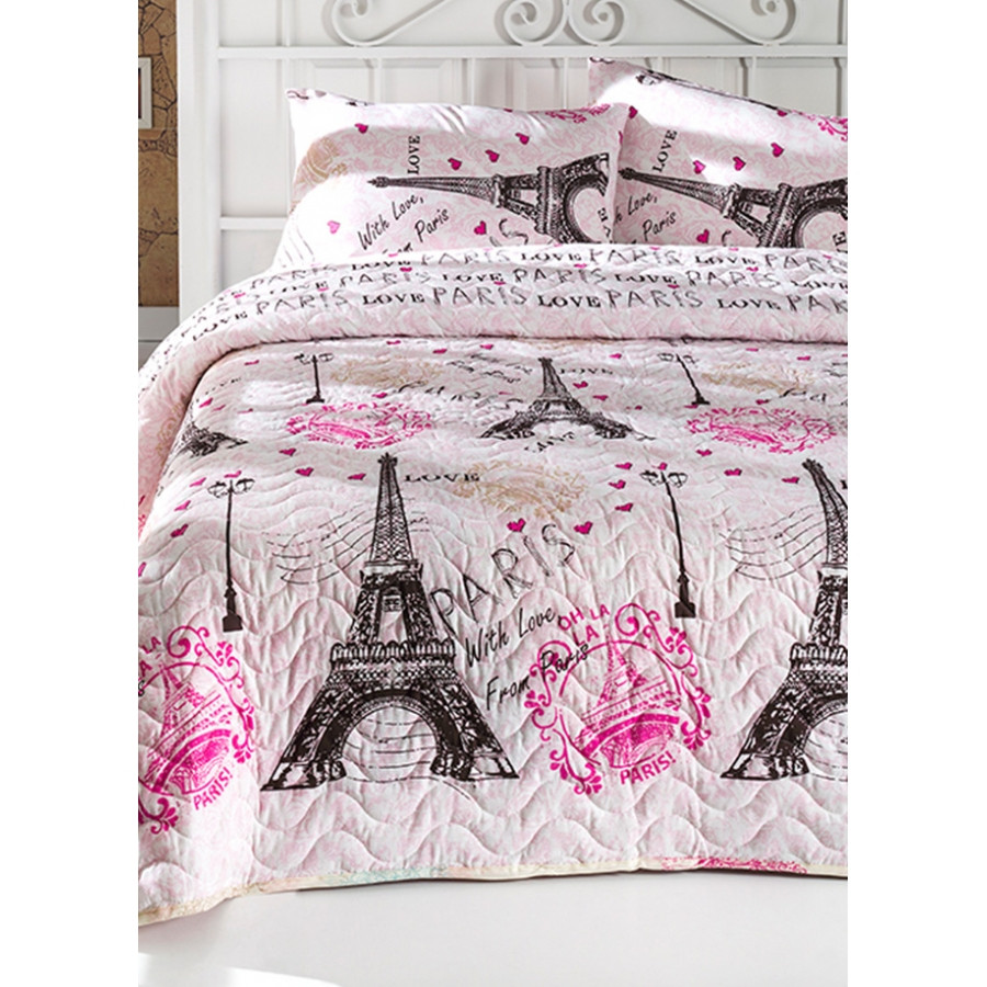 Покрывало стеганное с наволочками Eponj Home - Fromparis pembe розовый 200*220