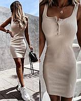 Женское стильное платье на кнопках и бретелях, фото 1