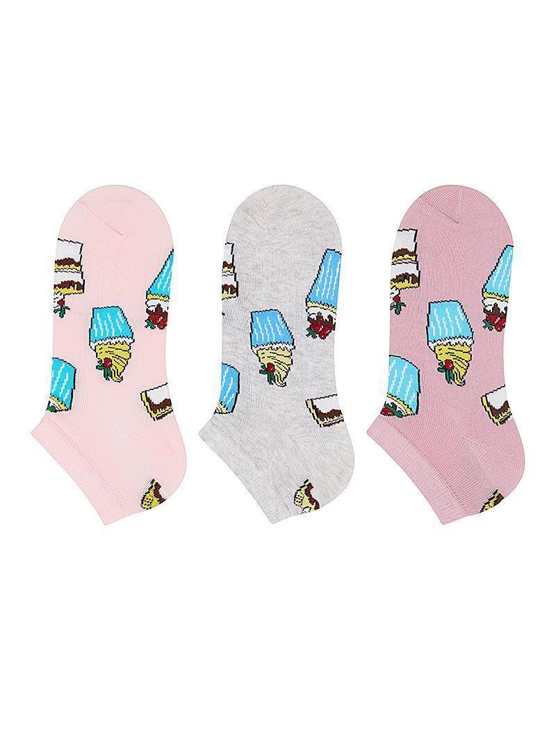 Набір 3 шт. Шкарпетки жіночі укорочені Bross бавовна тістечка