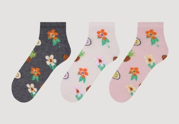 Набір 3 шт. Шкарпетки жіночі укорочені Bross бавовна квіточки
