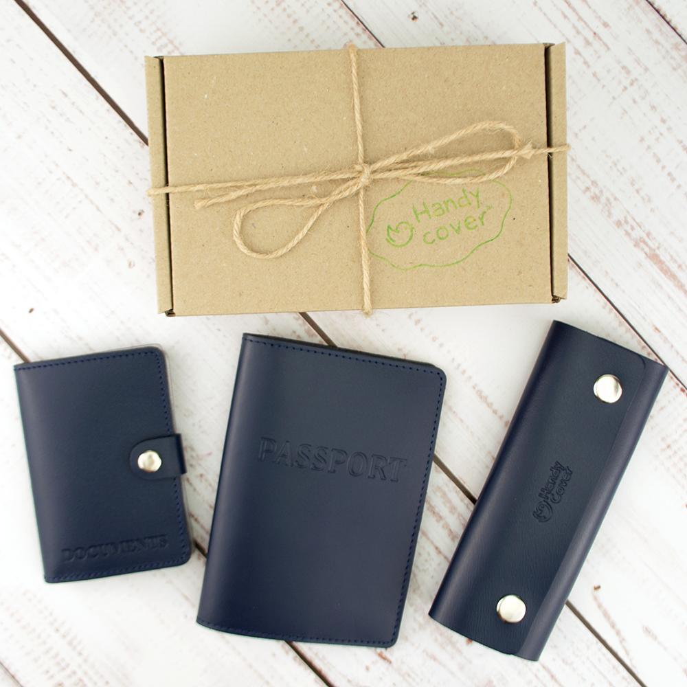 Чоловічий подарунковий набір Handycover №49 синій (обкладинка на паспорт, права і ключниця)