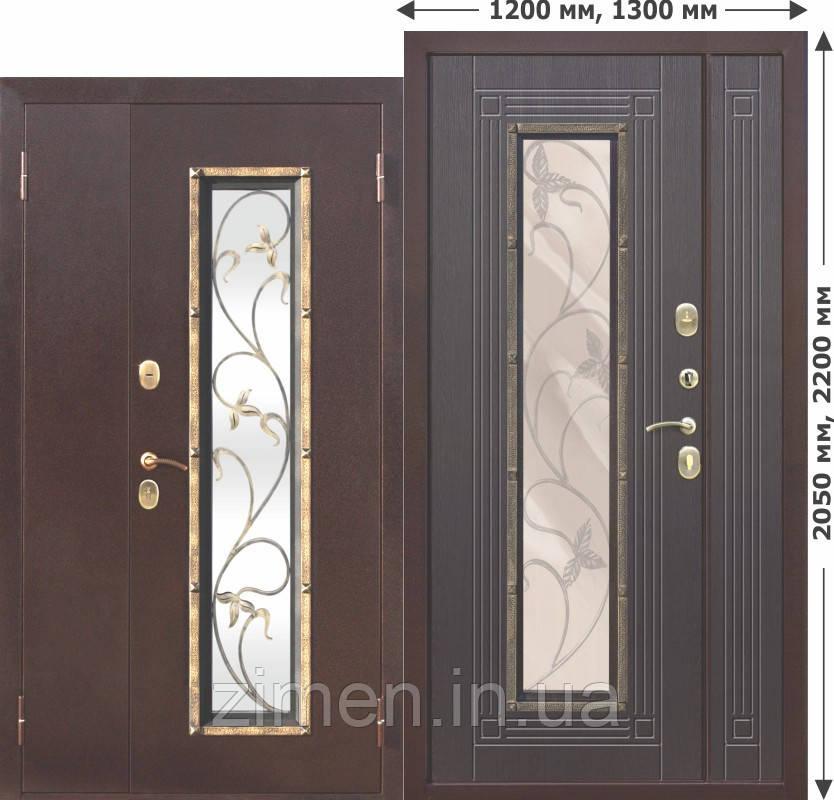 Вхідні металеві нестандартна двері зі склопакетом Плющ 1200х2050, 1300х2050 Венге