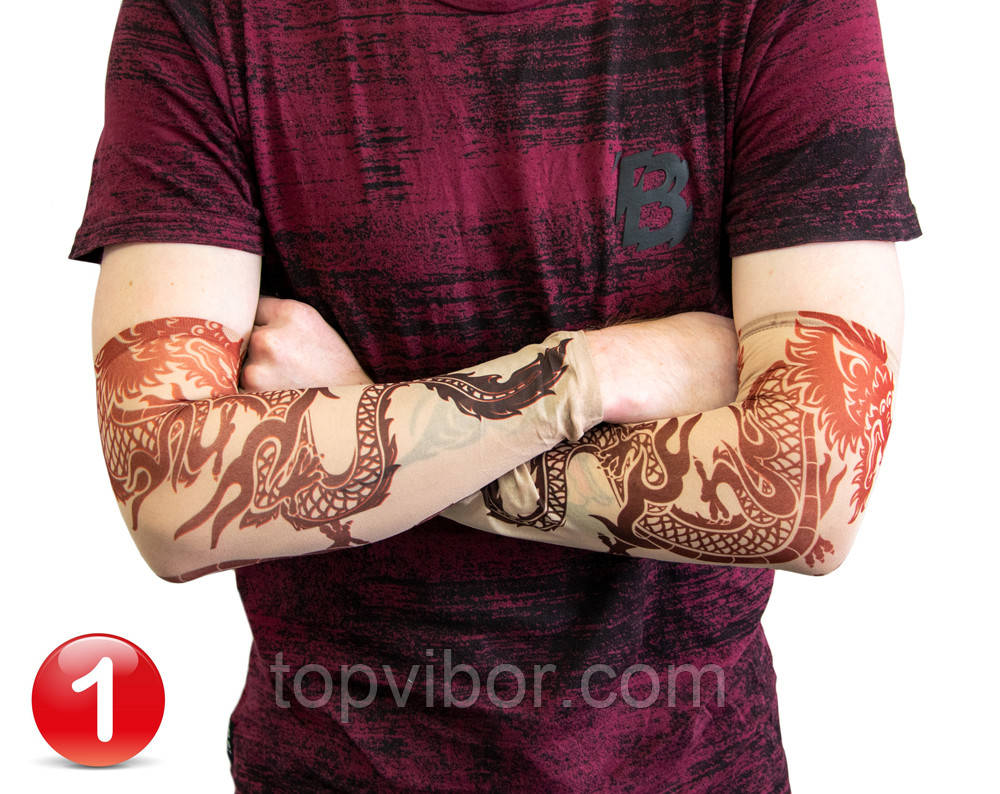 Тату нарукавник Дракон №1 34х9 см, эластичный тату рукав детский | еластичний тату нарукавник (VT)