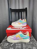 Nike Air Force 1 Shadow Pale Ivory кроссовки женские. Обувь Найк Аир Форсе Шедоу белые с цветными вставками