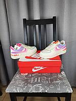 Nike Air Force 1 Shadow Double Swoosh кроссовки женские. Обувь Найк Аир Форсе Шедоу белые с цветными вставками