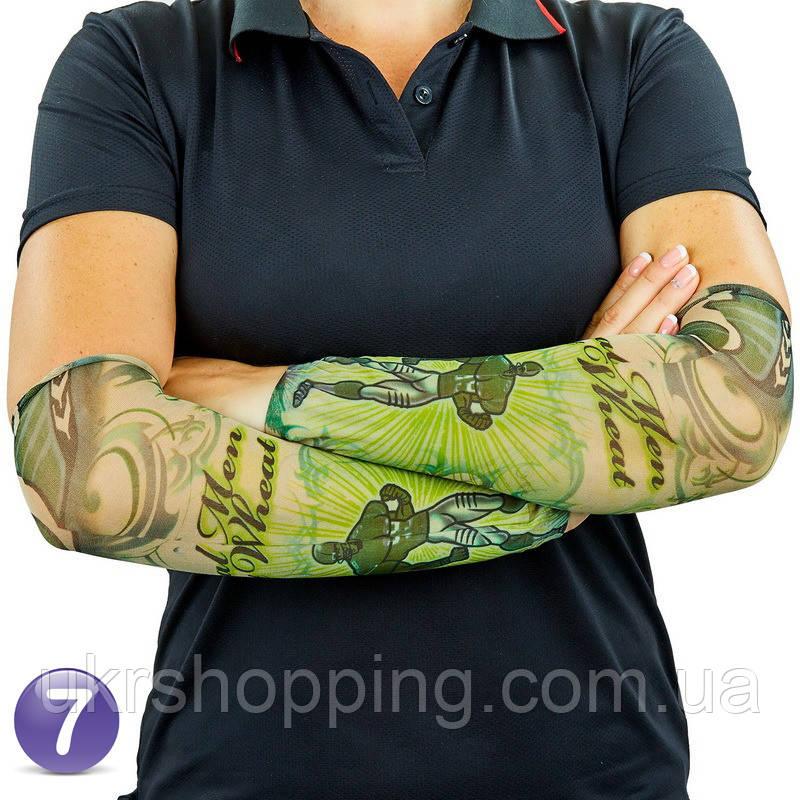 Эластичный тату рукав Real Man Eat Wheat №7 34х9 см, нейлоновый рукав тату | нарукавники з татуюваннями (SH)