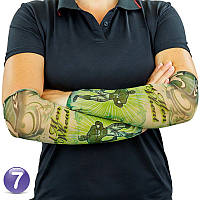 Эластичный тату рукав Real Man Eat Wheat №7 34х9 см, нейлоновый рукав тату | нарукавники з татуюваннями (SH), фото 1