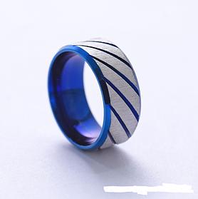 Кольца женские ребристые синие 8 мм. Размер 17-22. Женское кольцо на большой палец