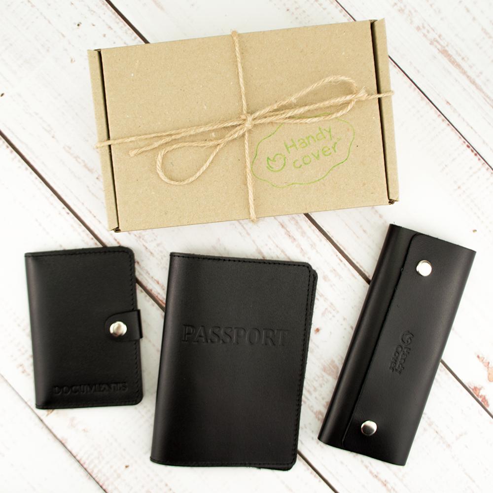 Подарунковий набір чоловічий  Handycover №49 (чорний) обкладинка на паспорт, права і ключниця