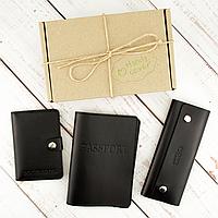 Подарунковий набір чоловічий  Handycover №49 (чорний) обкладинка на паспорт, права і ключниця, фото 1