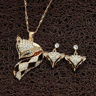 """Жіночий набір біжутерії (кулон та сережки) """"Лисичка"""" кристали Сваровскі позолота, фото 2"""