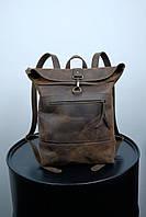 Кожаный винтажный рюкзак коричневый. Городской большой рюкзак для ноутбука или вещей из натуральной кожи.