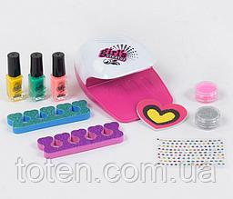 Набор  детский для маникюра 7420. Сушка для ногтей на батарейках, лаки, блеск Т