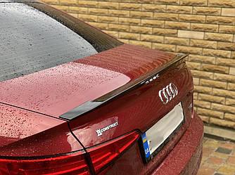 Спойлер Audi A4 B9 тюнинг сабля (пластик, черный глянц)