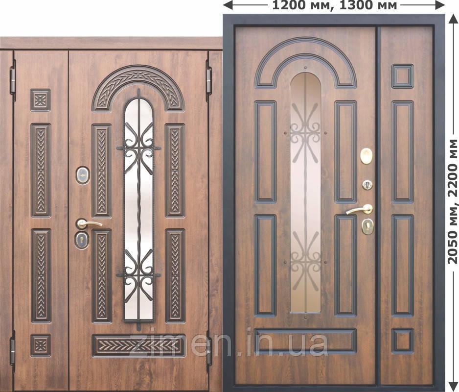 Вхідні металеві двері зі склопакетом та ковкою Vikont 1200/1300х2050