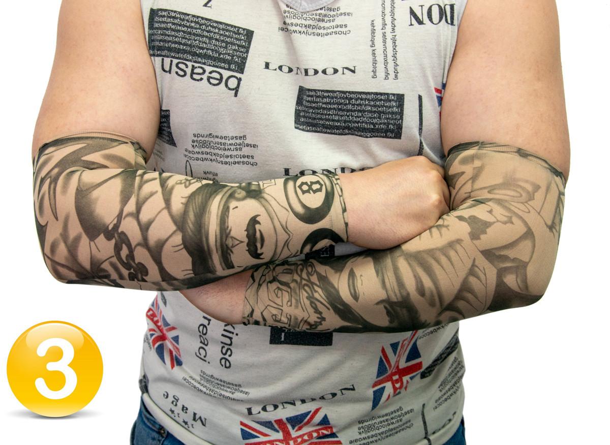 Эластичный тату рукав Мужчина с девушкой №3 34х9 см, нейлоновый рукав тату | нарукавники з татуюваннями (GK)