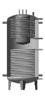 Аккумулирующая емкость комбинированная (с внутренним бойлером 160 дм3 та 2-мя теплообменниками) ЕАВ-11-1500 с