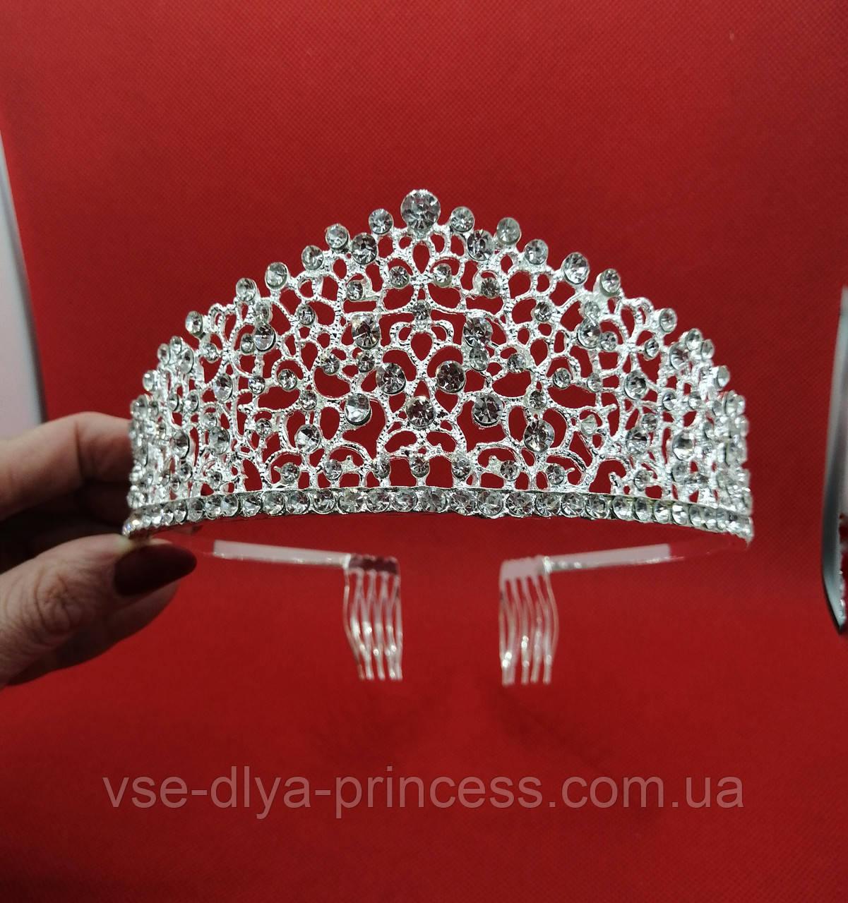 Диадема под серебро, детская корона, тиара, высота 6 см.
