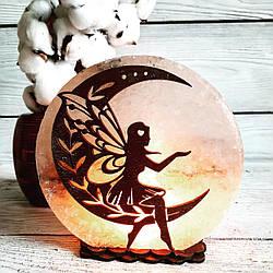 Соляная лампа Фея на Луне №2, 3-4 кг (18*18*6 см)