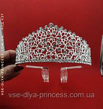 Діадема під срібло, корона для конкурсу, тіара, висота 6 див.