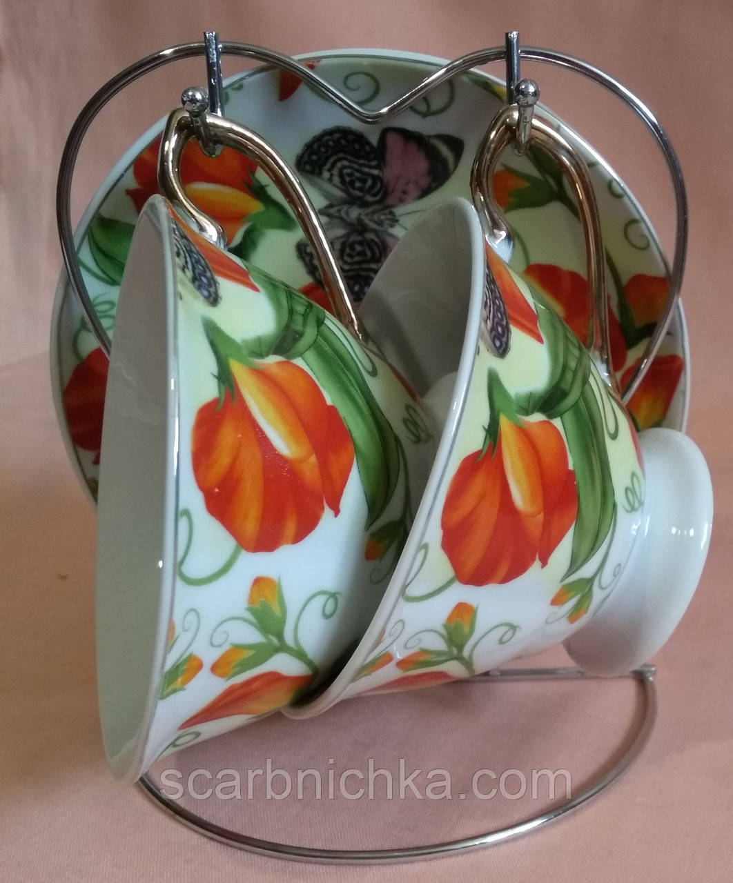 """Набор чайный - 2 чашки и 2 блюдца на металлической подставке """"SТ"""""""