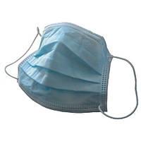 Маска медицинская нестерильная на резинках, голубая